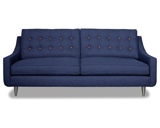 Apt2B.com - Cloverdale Sofa Navy Navy/Sweet Potato - This cozy sofa is as comfortable as it is sophisticated. With an unexpected pop of color in the button tufting and a nice deep seat it's a perfect place to cuddle up with your date.