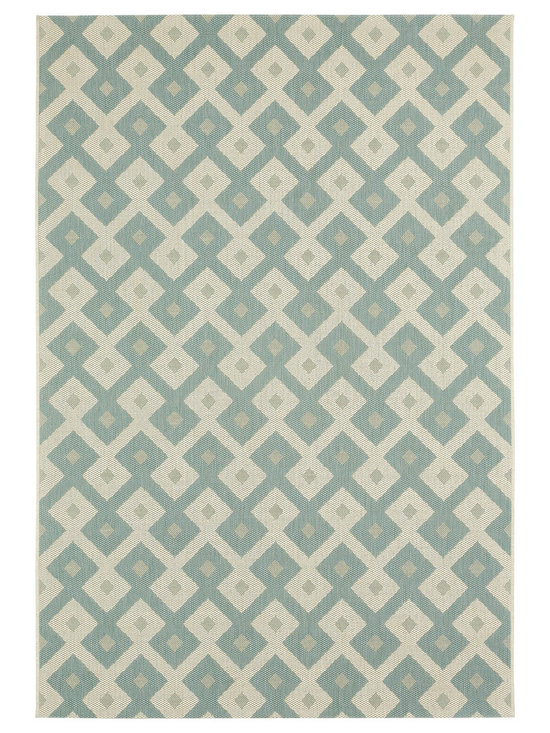 """Finesse Diamond rug in Spa - An esteemed """"Capel Anywhere"""" rug collection woven on precision machine looms in Europe. These versatile rugs can be used in high traffic areas indoors - like kitchens and sunrooms - or to dress up covered porches and decks outside."""