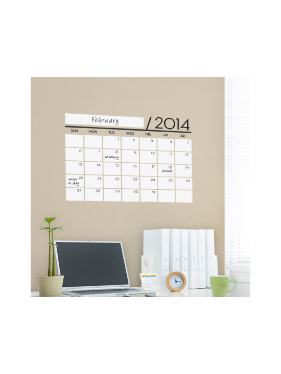 Simple Shapes - Dry Erase Calendar - 2014 Wall Decal - This calendar wall design incorporates a white dry erase vinyl that you can write on with dry erase markers. It is applied directly to the wall. Use any dry erase marker. (Dry erase marker not included.)