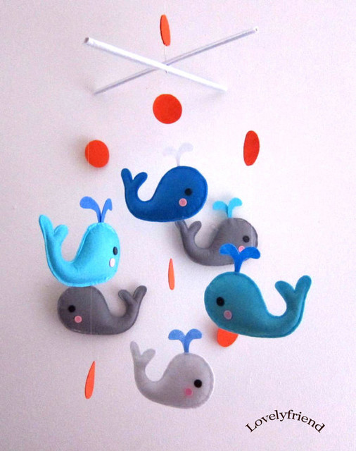 Blue and Grey Whales Baby Mobile by Lovelyfriend contemporary-mobiles