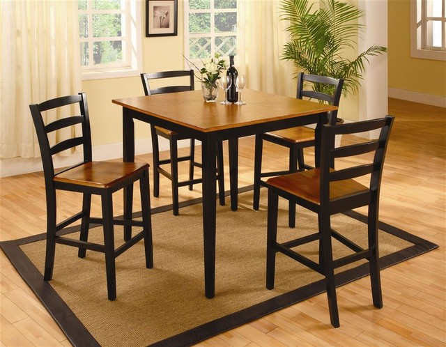 5 Pc Pub Table Set In Oak Black Finish Contemporary