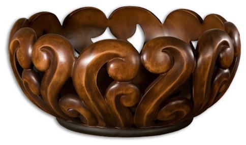 Merida Wood Tone Decorative Bowl traditional-decorative-bowls