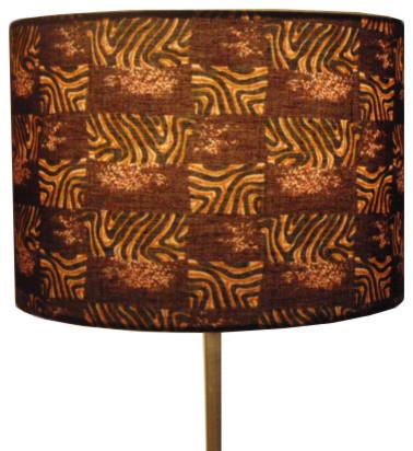 Brown Animal African Print Fabric Lampshade 30cm Drum