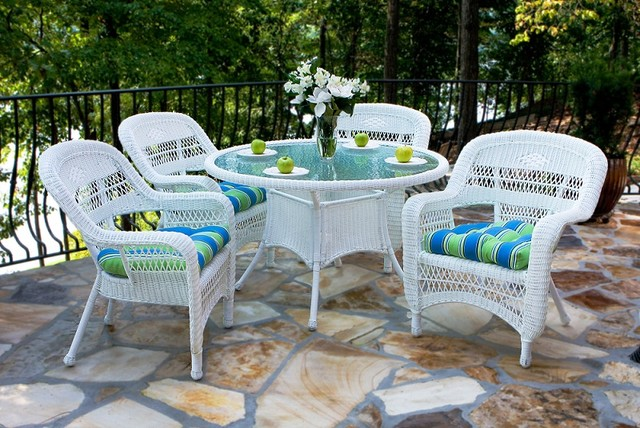 Portside 5 Piece Wicker Dining Set White Outdoor Dining Sets