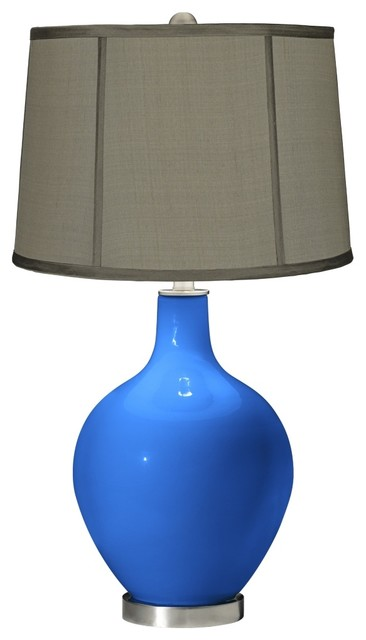 Royal Blue Gray Dupioni Silk Shade Ovo Table Lamp contemporary-table-lamps
