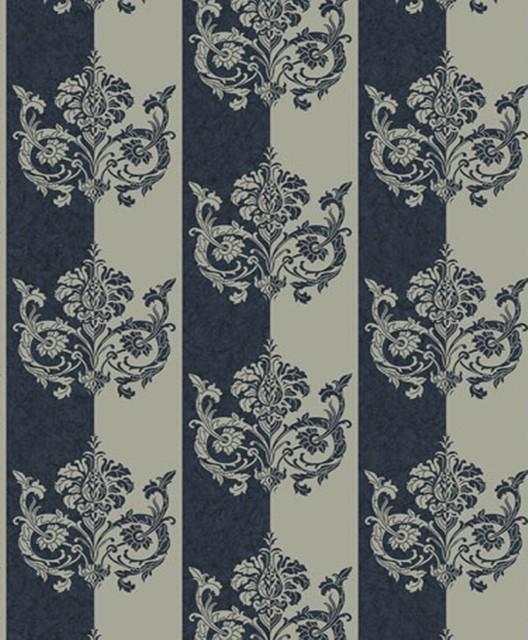 Deluxe - Embellished Stripe Wallpaper, Blue, Grey traditional-wallpaper