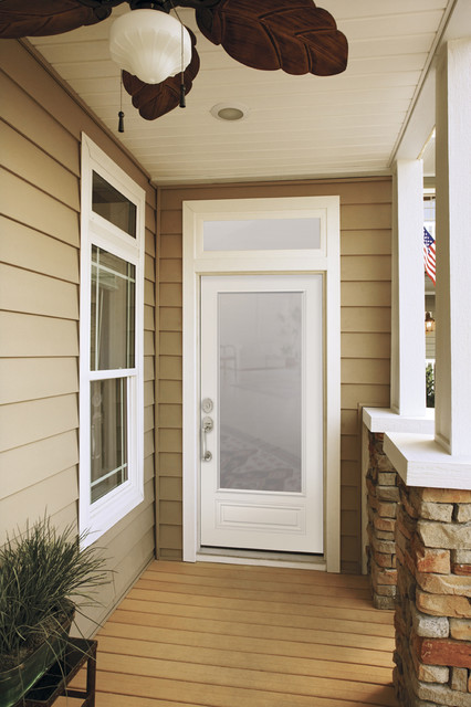 7/8 View with Clear Glass Entry Door - Modern - Front ...