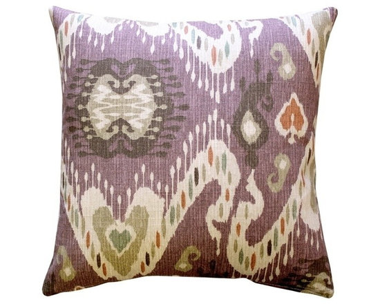 Pillow Decor - Pillow Decor - Solo Ikat Throw Pillow - This warm ikat pillow design includes mulberry, ocher, beige, sienna orange, green and soft brown tones. Made from a soft yet durable 100% cotton fabric, this pillow combines the artistic beauty of Ikat with contemporary styling. Suitable for both formal and informal spaces, the soft colors make this a versatile home accent choice.