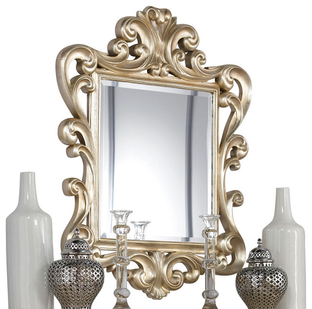 American Drew Jessica McClintock Silver Leaf Accent Mirror traditional-mirrors