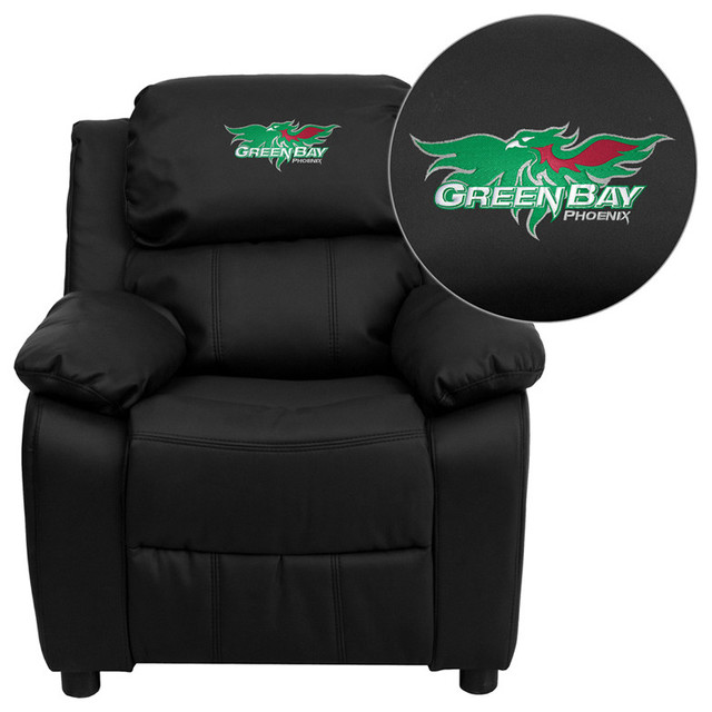 Wisconsin - Green Bay Phoenix Embroidered Black Leather Kids Recliner contemporary-kids-chairs