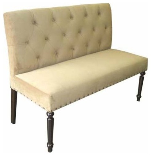 Button Tufted Back Dining Bench Traditional