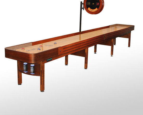 20' Cognac Finish Prestige Shuffleboard Table - The Prestige shuffleboard table is a classic shuffleboard model and makes the perfect furniture for a transformed garage or man cave. Made using American walnut and hard maple wood, the Prestige is reminiscent of the original American shuffleboard table design from the late 1940s. The table starts with a true horse collar made from a single piece of wood strengthened with several layers. We then steam-bend them with a final layer of solid American walnut wood. The cabinet and legs are made from solid select Michigan maple, and the trim also comes from all-American walnut in order to bring out the table's natural beauty. We offer the Prestige shuffleboard table in a beautiful natural or Cognac finish, to further bring out the contrasting tones of the American maple and natural walnut wood.