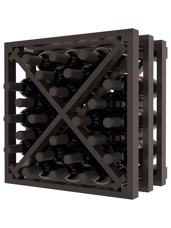Lattice Stacking X Wine Cube in Redwood with Black Stain + Satin Finish - Designed to stack one on top of the other for space-saving wine storage our stacking cubes are ideal for an expanding collection. Use as a stand alone rack in your kitchen or living space or pair with the 16-Bottle Cubicle Wine Rack and/or the Stemware Rack Cube for flexible storage.