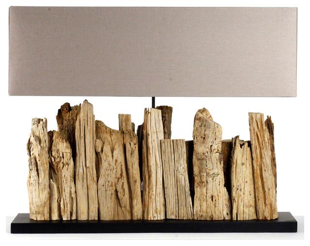 Vertico Riverine Root Modern Rustic Burlap Shade Table Lamp- Long transitional-table-lamps