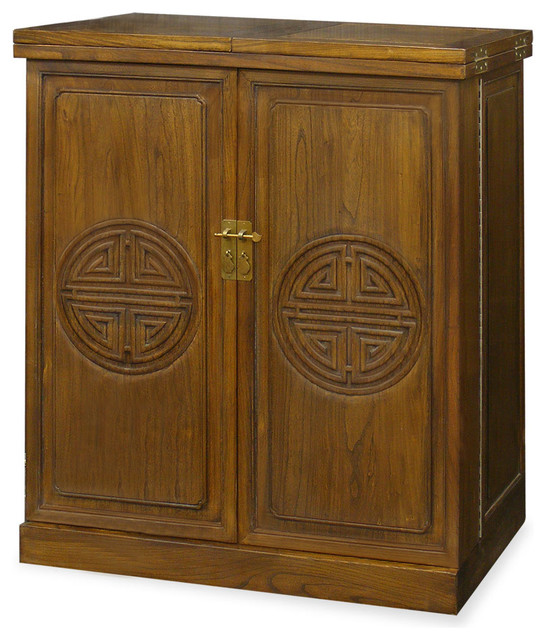 Elmwood Longevity Bar Cabinet - Asian - Wine And Bar Cabinets - by China Furniture and Arts