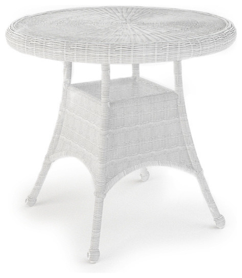 Rockport 30 in Round Patio Dining Table White Wicker  : traditional outdoor tables from www.houzz.com size 474 x 543 jpeg 41kB