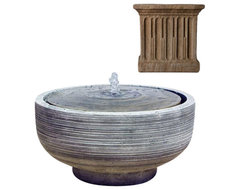 Girona Fountain - Aged Limestone (AL) contemporary-outdoor-fountains-and-ponds