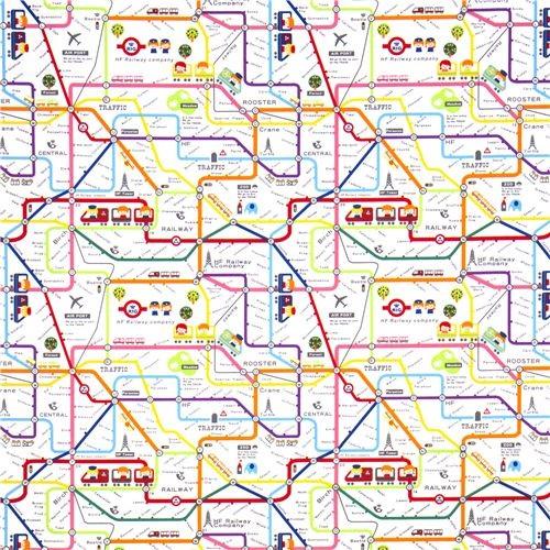 cute subway map children fabric by Kokka Japan kids-decor