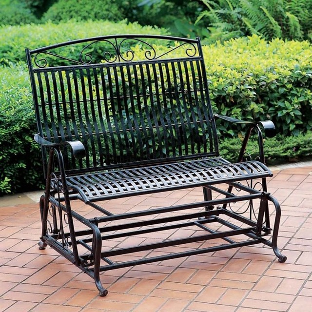 Double Seat Patio Glider w Antique Finish Wro Contemporary Outdoor Glider