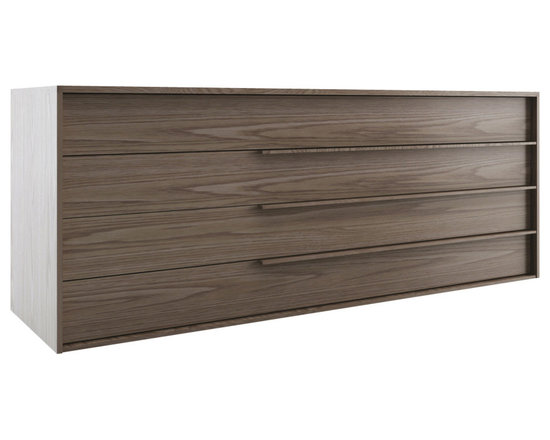 Modloft - Jane Dresser, Walnut - The generously proportioned Jane four-drawer dresser with sleek handgrips matches any modern bedroom decor. European soft-closing glides enable effortless drawer movement. Interior of drawers elegantly lined in light beige linenboard. Available in wenge or walnut wood finishes. Also available in white lacquer finish. No assembly required. Imported.