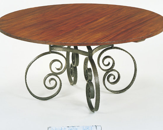No. 660 WR-1 Custom Dining Table Round WR-1 French Scroll Base -