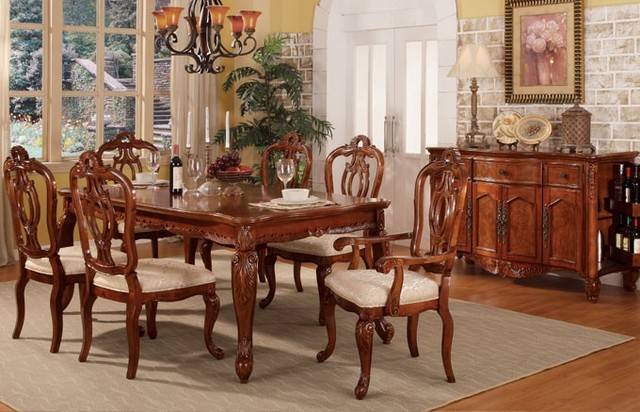 7 pieces formal cherry finish wood dining table set with for Traditional dining table and chairs