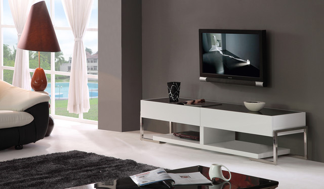 B-Modern Agent TV Stand, Black Glass Top modern-media-storage