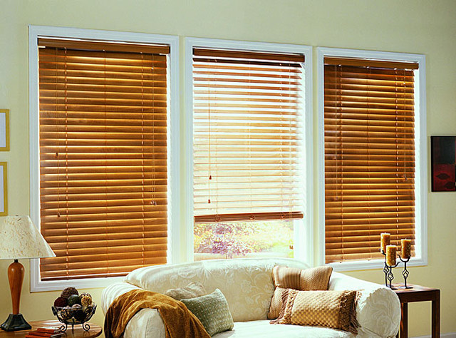 Golden Oak Real Wood Blinds (49 in. x 64 in.) contemporary-window-blinds