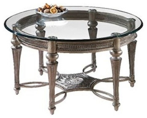 Magnussen Galloway Round Glass Top Cocktail Table With Pewter Finish Traditional Coffee