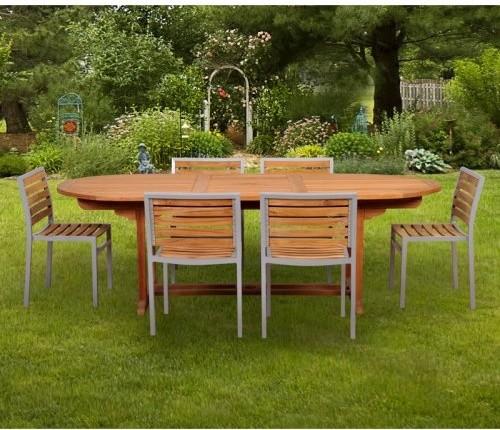Caluco Teak And Aluminum Patio Dining Set Seats 6 Multicolor 50 501 Con
