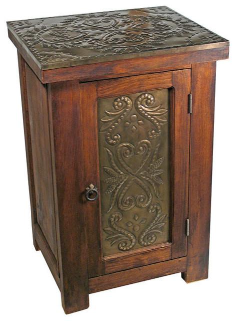 Rustic wood tin nightstand rustic nightstands and for Rustic wood nightstand