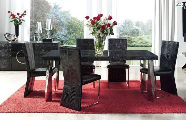 Designer Glass Table And Chairs: Exclusive Wood And Glass Top Leather Designer Table And