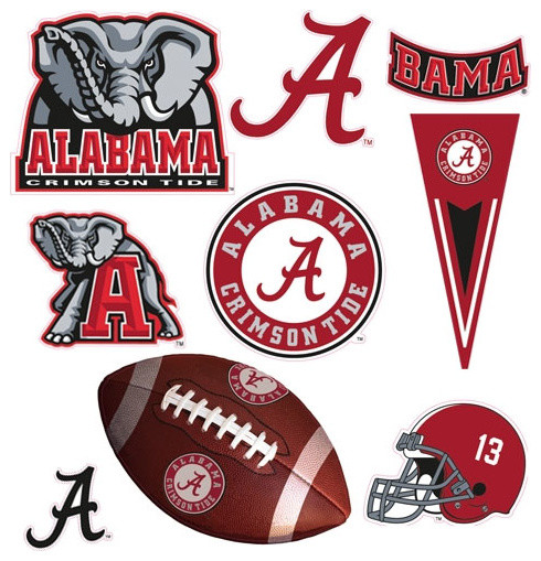 Alabama crimson tide 25pc self stick wall accent stickers for Alabama football wall mural