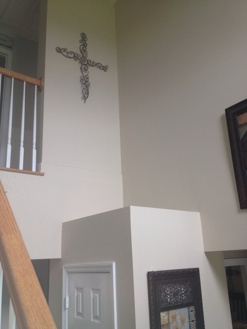 Need ideas to decorate tall foyer walls window and ledge for Foyer decorating ideas on a budget