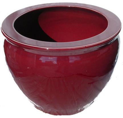 Chinese Porcelain Fish Bowl Planter Glazed In Oxblood
