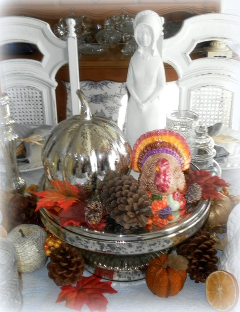 Mercury glass thanksgiving centerpiece traditional