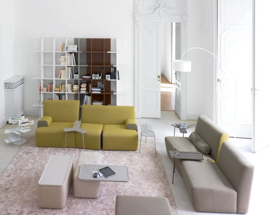 Entailles - Ligne Roset - Entailles sofa, Giro occasional table with tray, Oka bookcase, Night floor lamp, Paper Table magazine holder.