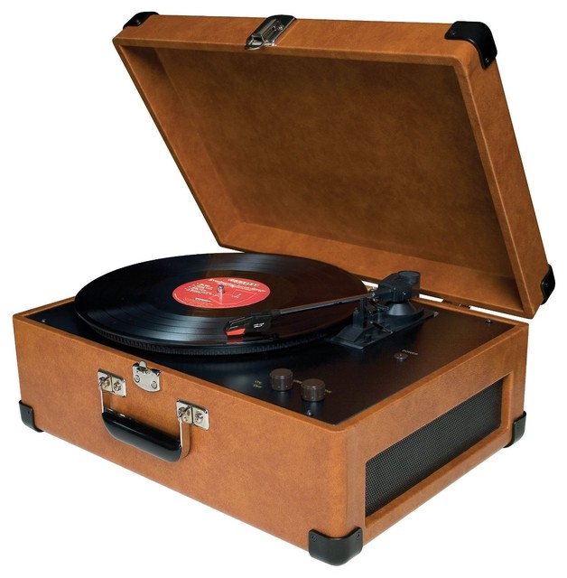Entertainment Center Traveler Turntable - Tan traditional-home-electronics