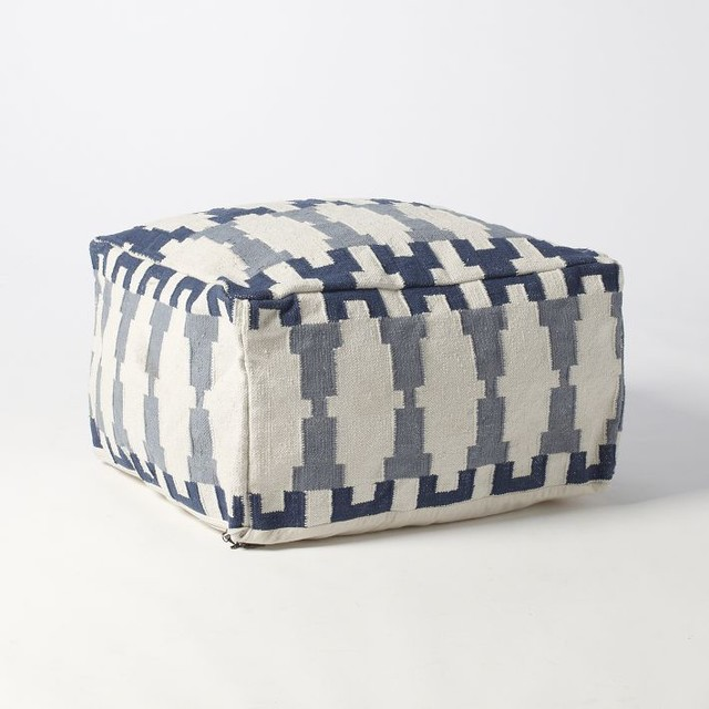Kew Dhurrie Pouf contemporary-ottomans-and-cubes