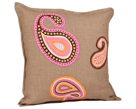 ecoaccents Orange and Pink Paisley Washed Burlap Pillow