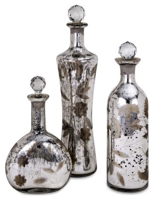 Madison Etched Mercury Glass-Lidded Bottles traditional-tabletop