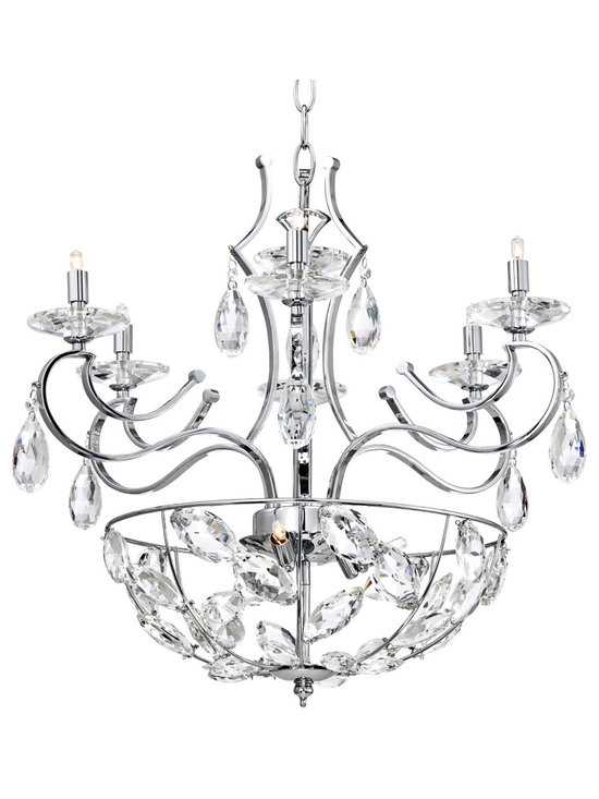 """Possini Euro Design - Clearview Chrome 9-Light Clear Crystal Pendant Chandelier - Clearview tiered pendant chandelier. Chrome finish frame. Clear faceted crystal accents and bobeches. Includes nine 40 watt G9 halogen bulbs. 25 1/2"""" wide. Includes 6 feet of chain 10 feet of wire.  Clearview tiered pendant chandelier.  Chrome finish frame.  Clear faceted crystal accents and bobeches.  Includes nine 40 watt G9 halogen bulbs.  Measures 24 1/2"""" wide 25 1/2"""" high.   Includes 6 feet of chain 13 feet of wire.  Canopy is 5"""" wide 1"""" high.   19.8 lb. hang weight."""