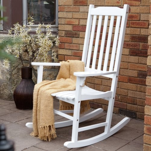 Coral Coast Indoor Outdoor Mission Slat Rocking Chair White Modern Rock