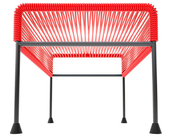 Adam Ottoman, Red Weave On Black Frame - Sleek woven vinyl makes this coffee table stand out from the crowd. It's a great option for indoor or outdoor use since the vinyl is UV protected and the metal base is galvanized. The only challenge would be deciding on your favorite color combination.