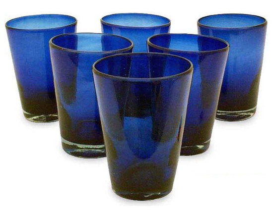 Hand-blown Glass 'Cobalt Angles' Drinking Glasses -