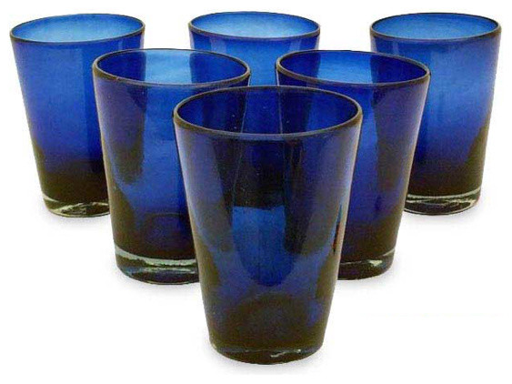 Hand-blown Glass 'Cobalt Angles' Drinking Glasses eclectic-everyday-glasses