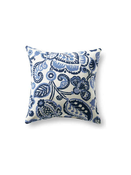 """Grandin Road - Rava Outdoor Pillow - 16"""" x 16"""" - Outdoor pillow designed to live beautifully in the elements. Each is covered in all-weather, water-repellant, chlorine- and stain-resistant upholstery, so colors stay vibrant all season long. Stuffed with quick-drying, 100% polyester fill. Printed fabrics are woven from spun polyester. Coordinates perfectly with our outdoor replacement cushion program. Freshen up your outdoor furniture in an instant with our all-weather designer outdoor pillow. Each is upholstered in highly durable, quick-drying, all-weather fabric that repels water, resists chlorine, soil and stains. Like our outdoor cushions, each one is made in America, so you can pick your favorite patterns and pile them on with pride.  .  .  .  .  ."""