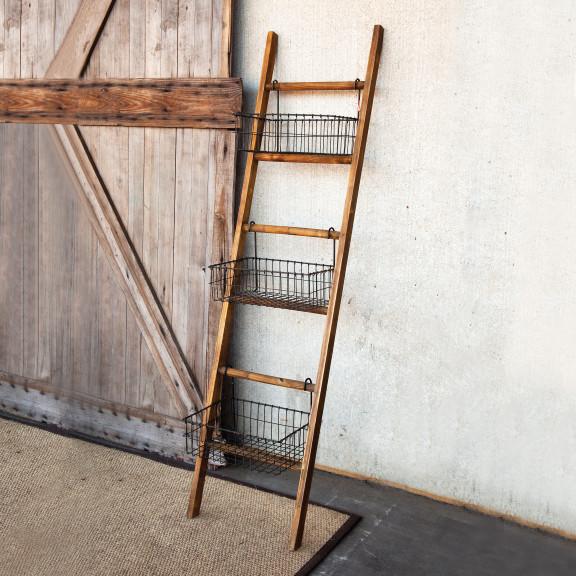 ladder shelving unit with baskets modern display and. Black Bedroom Furniture Sets. Home Design Ideas