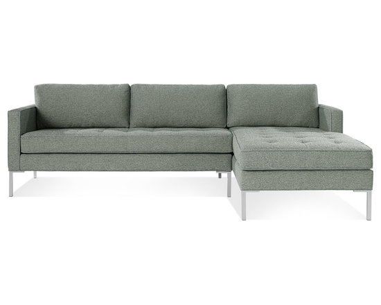 Blu Dot - Paramount Sofa with Right Arm Chaise, Ceramic - As comfortable as your favorite jeans. As versatile as a little black dress. This classic sofa and chaise combination can go anywhere in style but don't be surprised if it steals the limelight in its own quiet way. Available in ash, ceramic, lead and oatmeal.