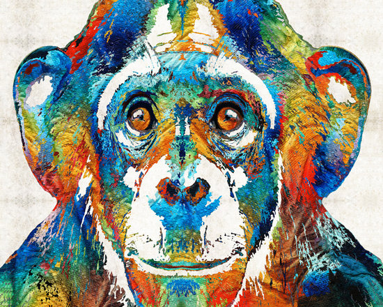 Animals, Fish and Birds - Colorful Chimp Art - Monkey Business - By Sharon Cummings